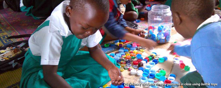 Pre Primary Students Use Bottle Tops To Create Patterns | Children In Crossfire