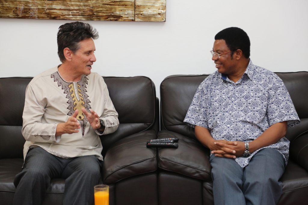 Tanzanian Country Director, Craig Ferla, chatting with the Honourable Prime Minister of Tanzania, Kassim Majaliwa.