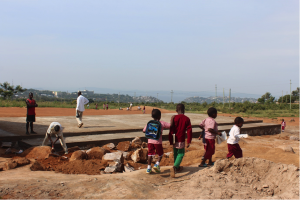 Men at work - Construction of new pre-primary classroom at Nyashana School.