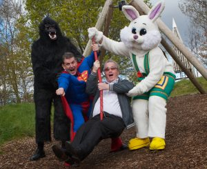 "Richard Moore gets a helping hand from Helen the Easter Bunny, Martin ""Superman"" and John the gorilla at the launch of the Children in Crossfire Zipline Challenge. (Photo - Tom Heaney, nwpresspics)"